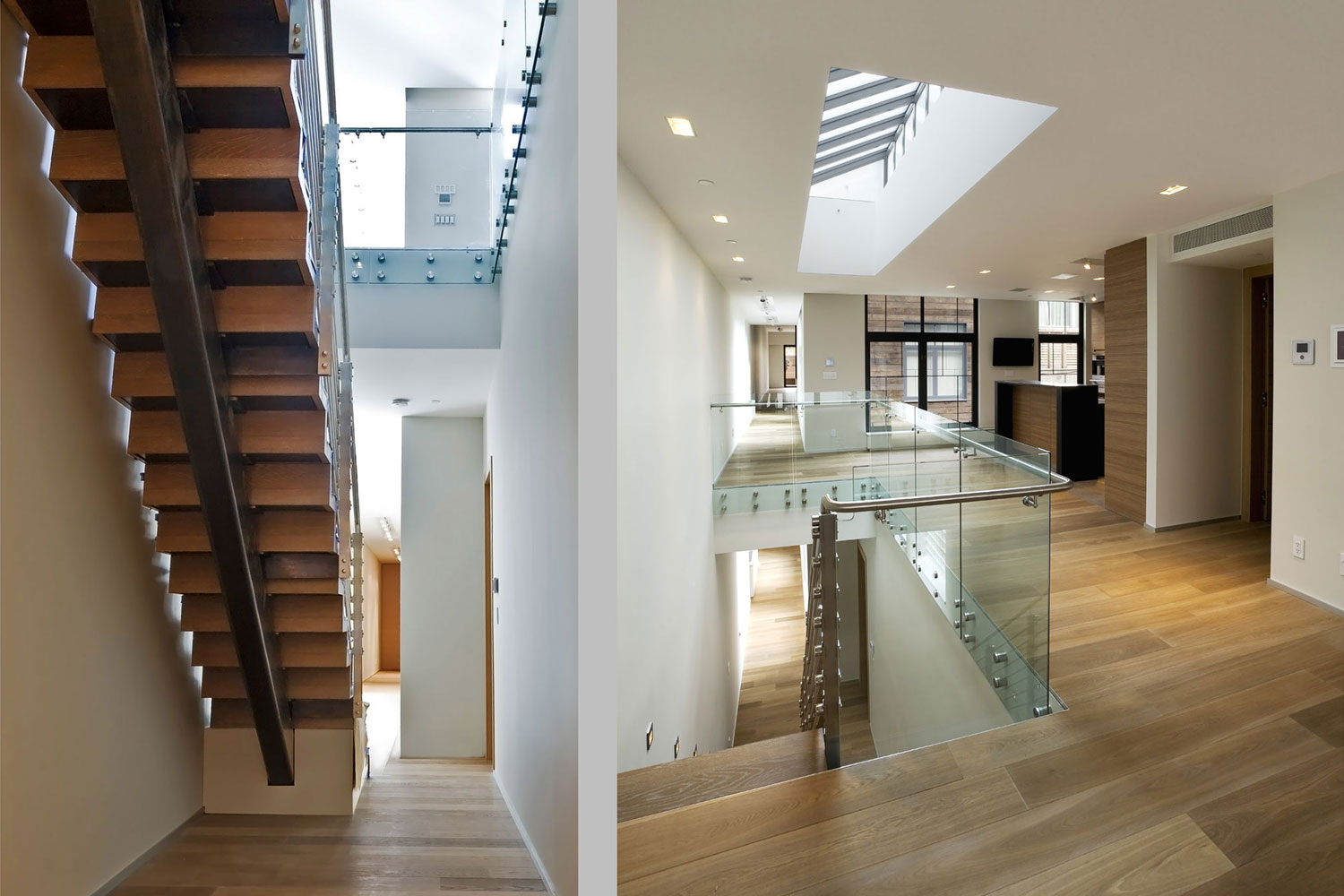 Skylights, a floating stair and North and South facing terraces top off this duplex Tribeca penthouse.