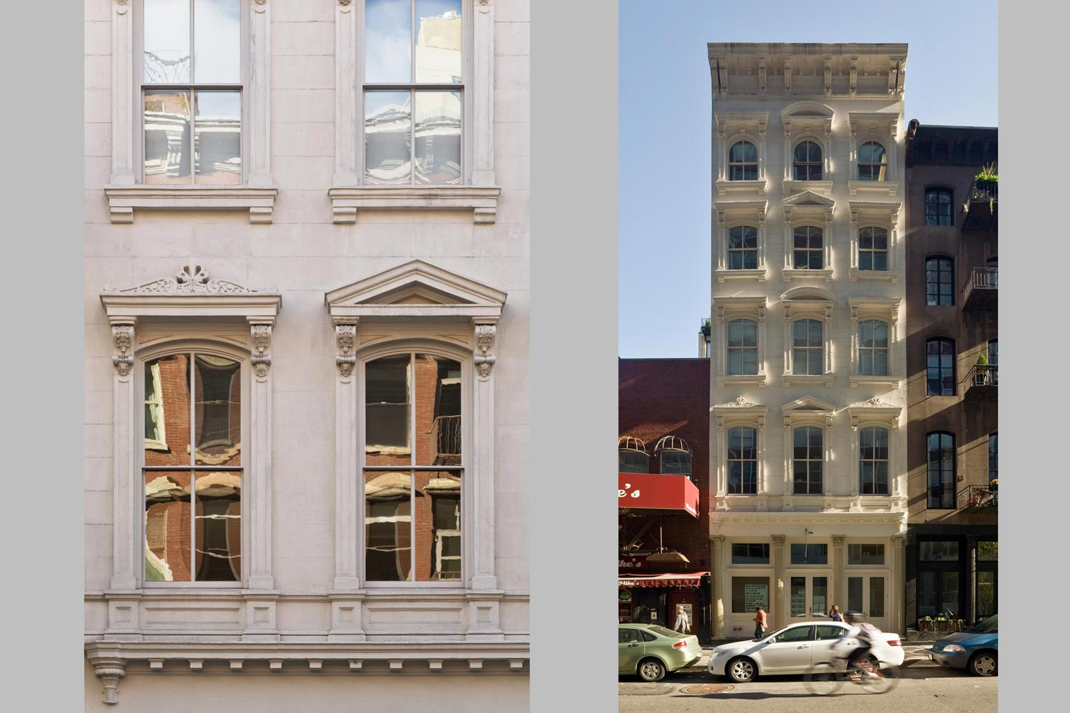 The renovation by OCV Architects addresses the historic preservation of the two facades.