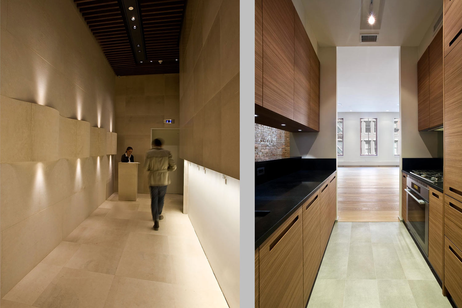 The two buildings were completely gutted, united and renovated with fully appointed contemporary interiors.