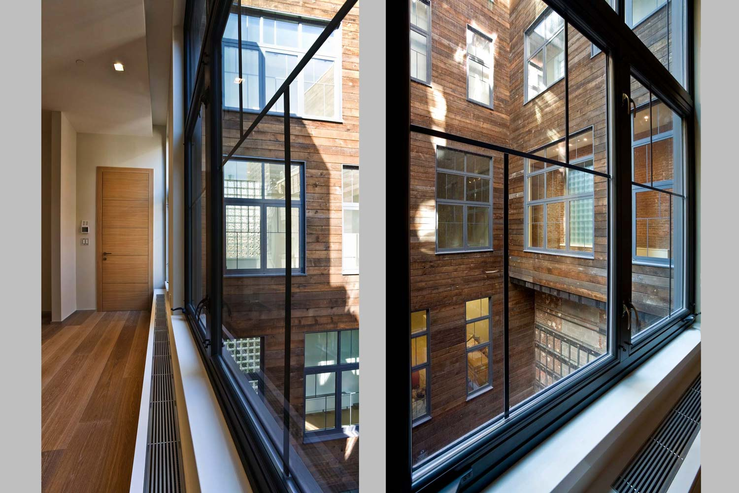 The courtyard echoes the history of the building through its reclaimed wood cladding.