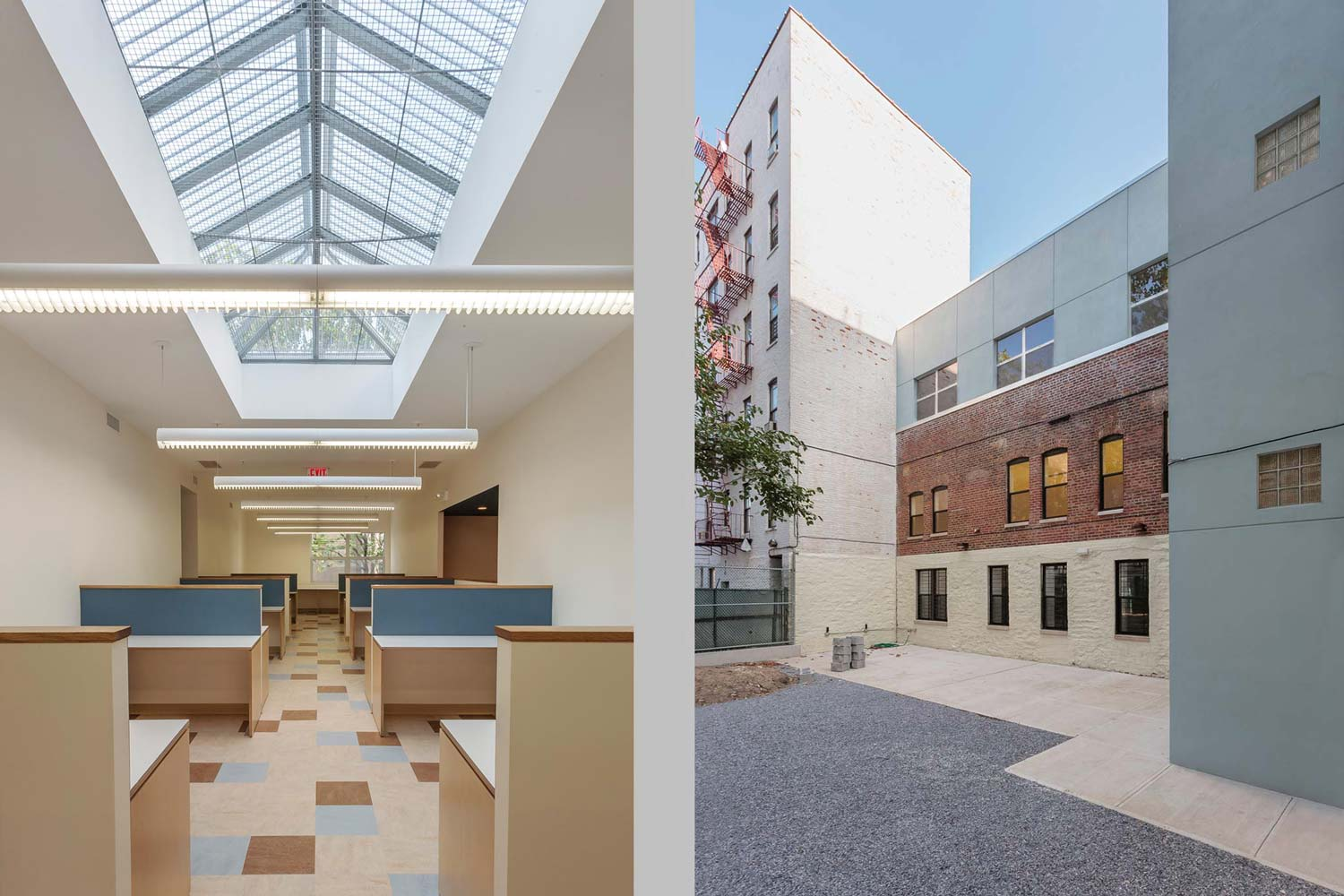 OCV introduced a large sky light above the second story and rear yard at BronxWorks offices.