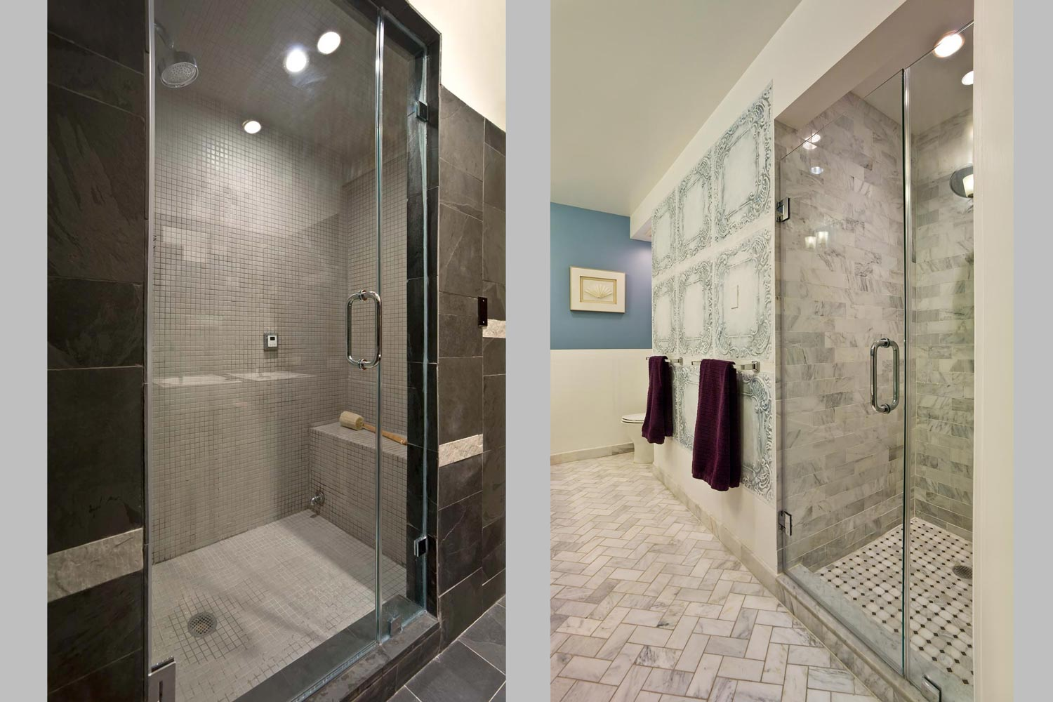 New bathrooms, flooring and central air were installed throughout this residential project by OCV Architects.
