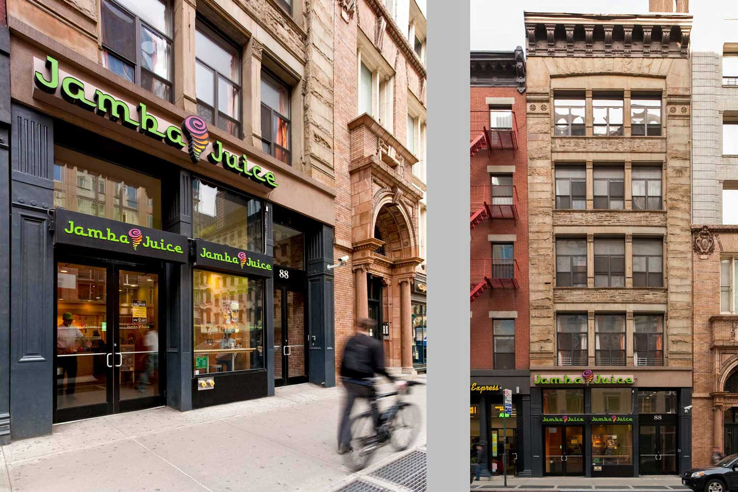 Commercial renovation locating a Jamba Juice on the ground floor of a historic Tribeca structure