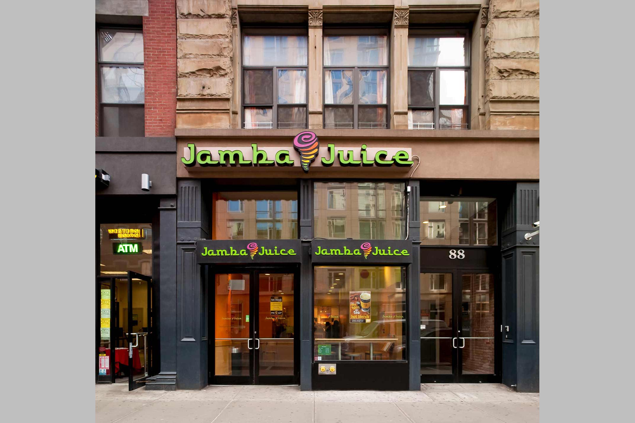 Commercial renovation of this Tribeca storefront and interior for Jamba Juice.