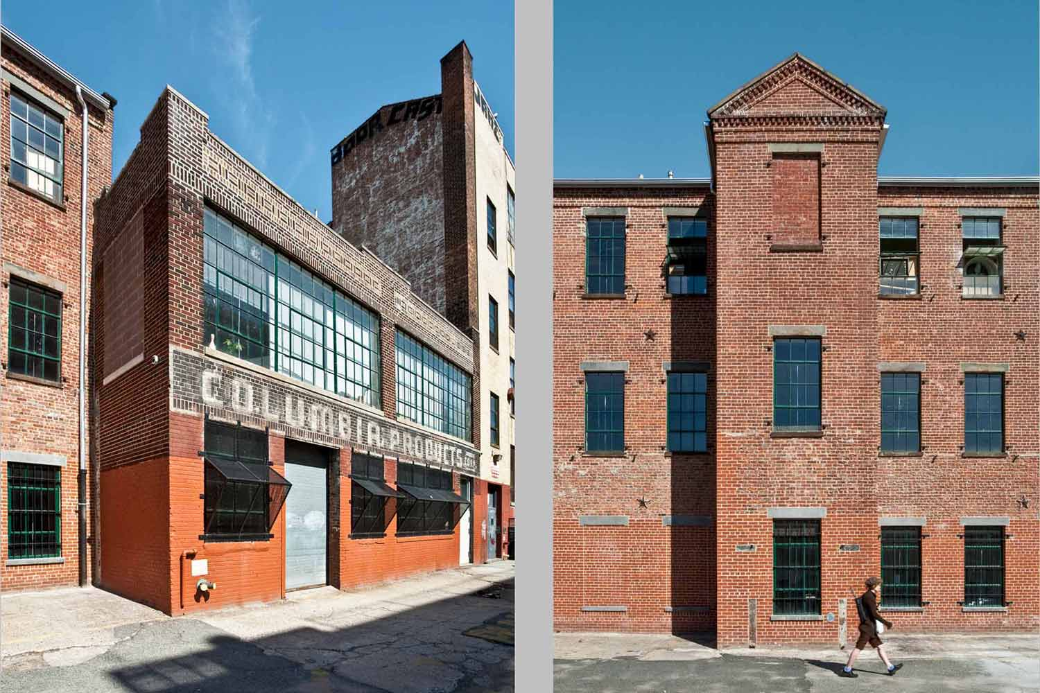 McKibbin Street Industrial Center won two historic preservation awards. Project by OCV Architects.
