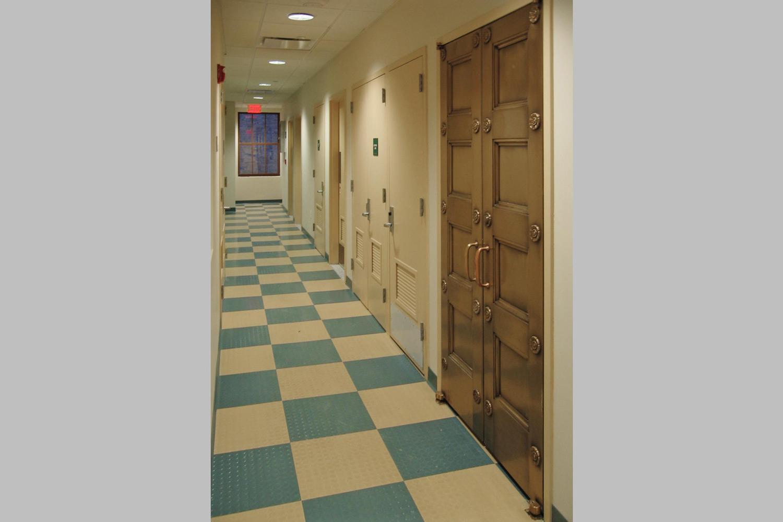 Interior corridor at the Claremont Prep School, adaptive reuse of a bank to a K-8 school.