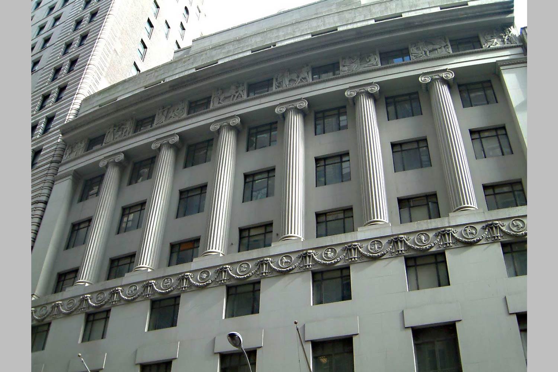 Claremont Prep historic bank building facade