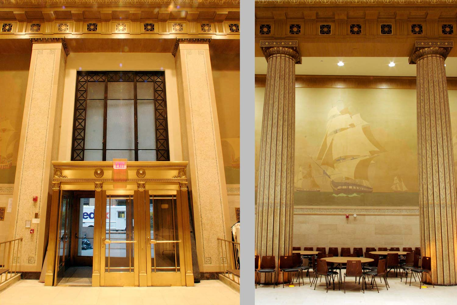 Main hall featuring a mosaic installation by Griffith Baily Cole. Adaptive reuse project by OCV Architects.