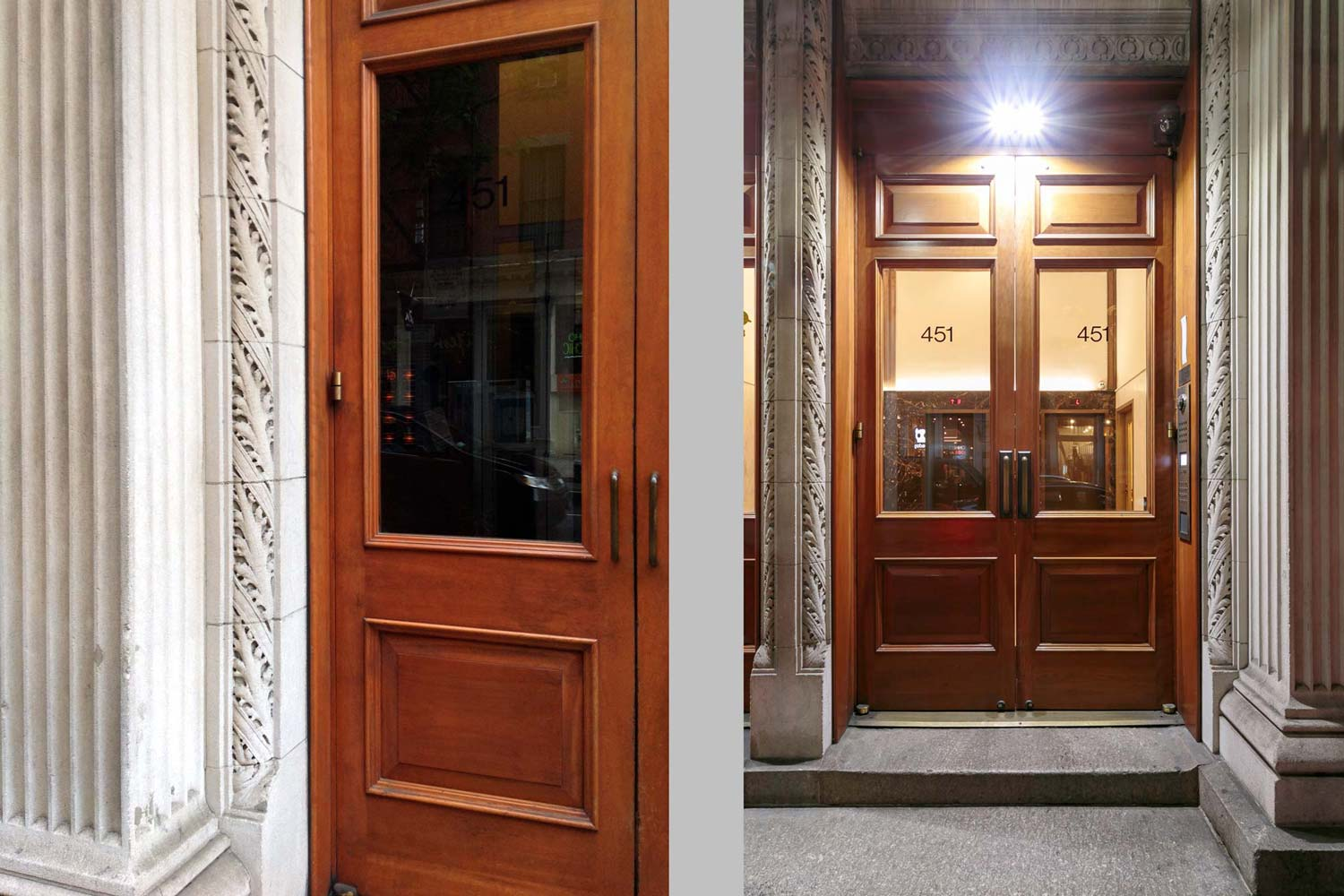 Entry to the historic lobby on Broome Street which was restored by OCV Architects