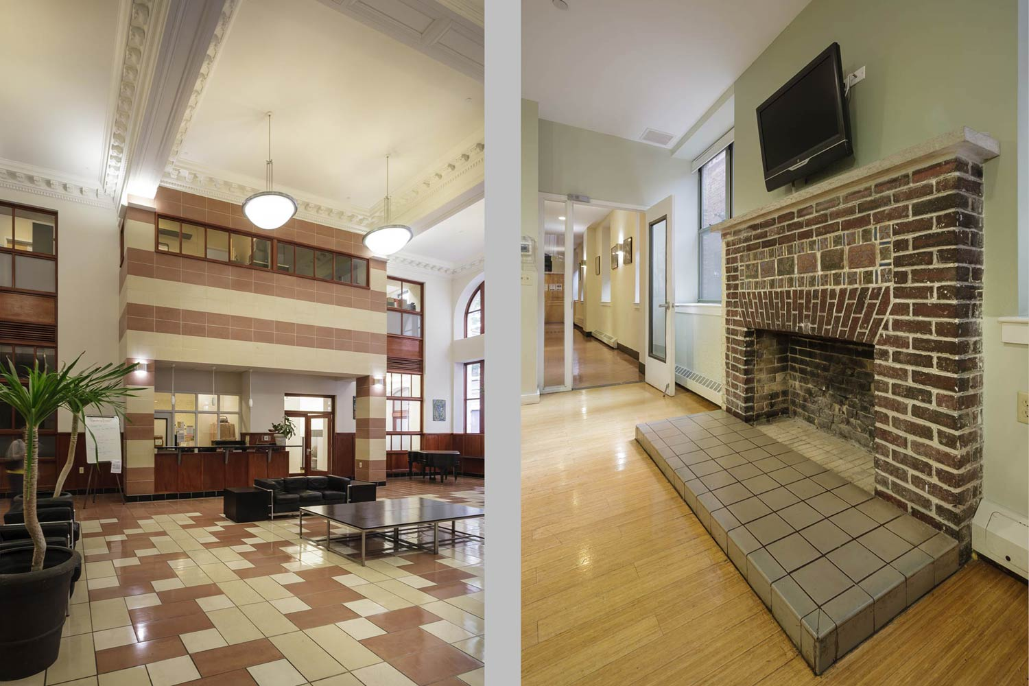 Rehabilitation of the former McBurney YMCA included the reconstruction of the original lobby details.