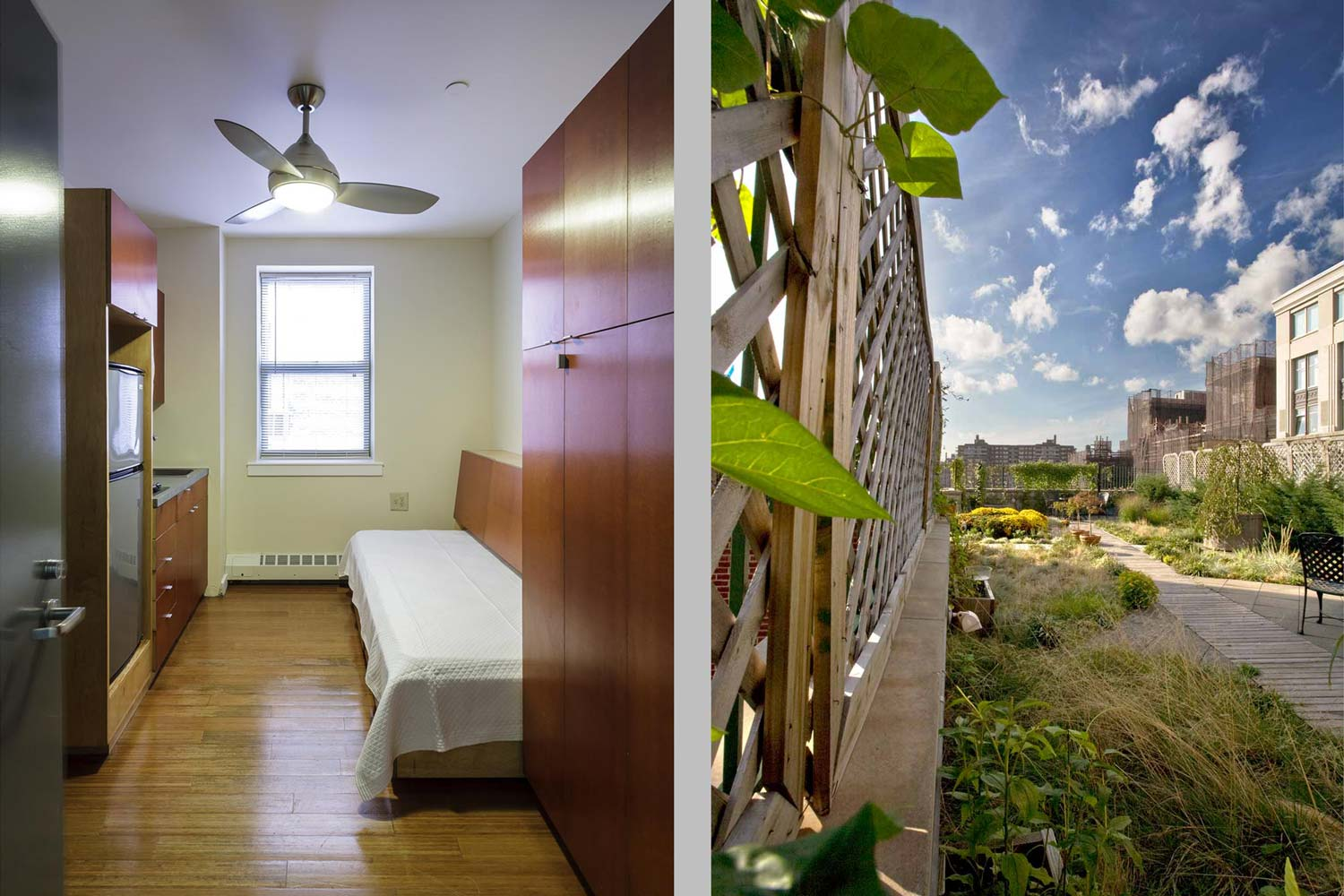 Units feature custom designed single beds. The green roof is one of the first for supportive housing in NYC.