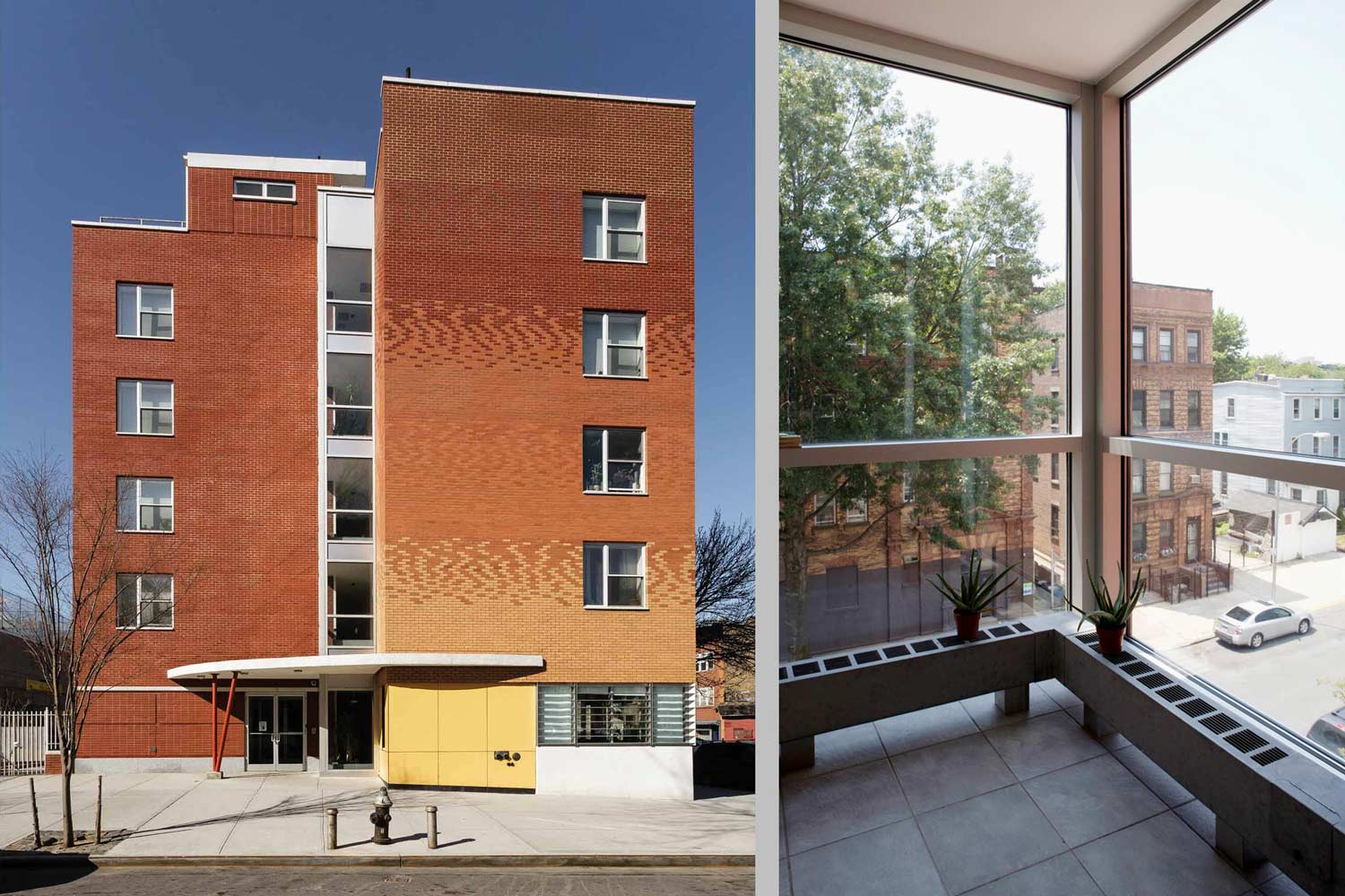 The overall building design maximizes the use of natural light, while architectural screens mitigate solar overheating.