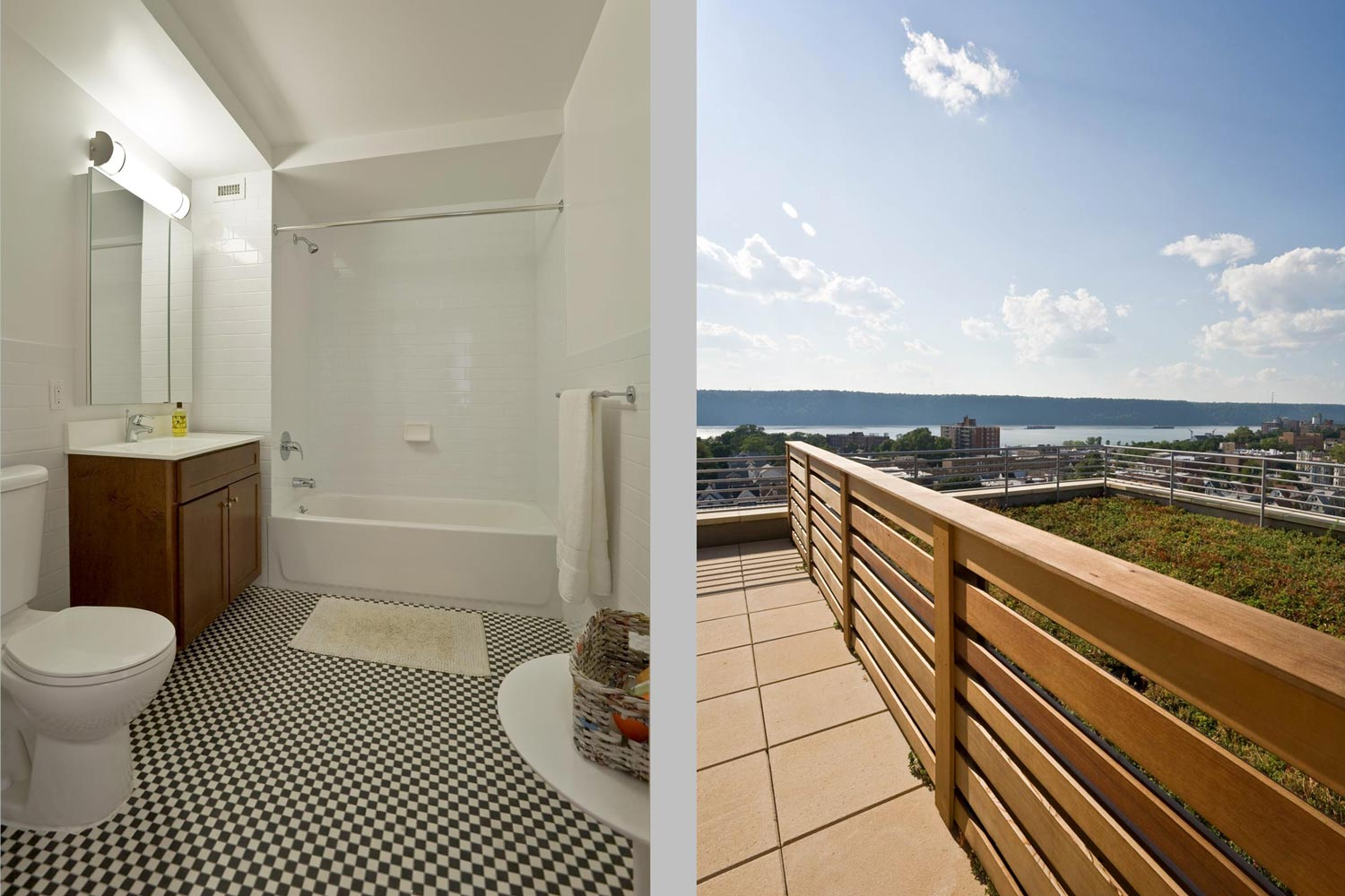 On-site amenities include several rooftop terraces, parking, laundry, a club/recreational room and gym, and play spaces.