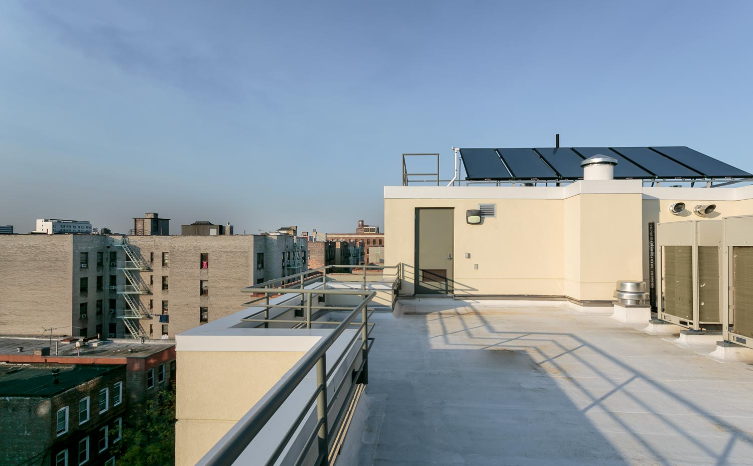 At Tiebout Green a solar thermal hot water system tops one of the two roofs.