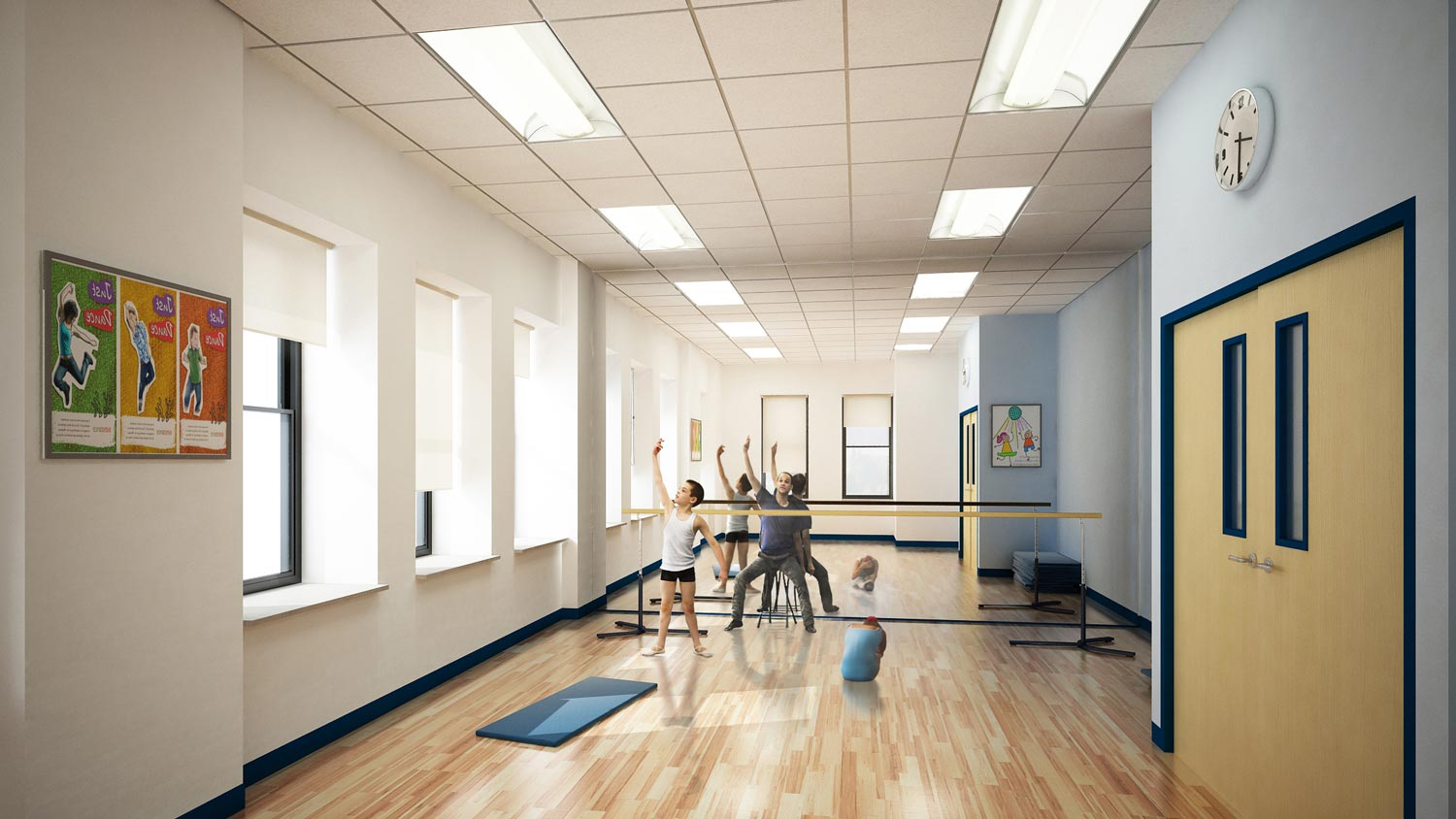 A dance studio doubles as a classroom at the Aaron Academy. Project by OCV Architects.