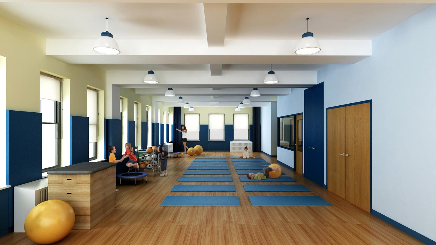 The multi-purpose room at Aaron Academy, a conversion and expansion project by OCV Architects.