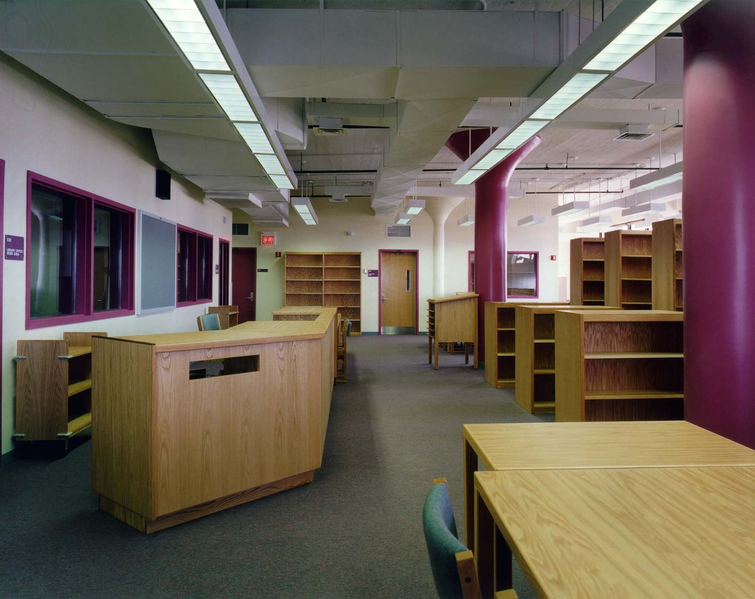 Library at the ACORN Community High School, an OCV conversion of a factory into a high school.