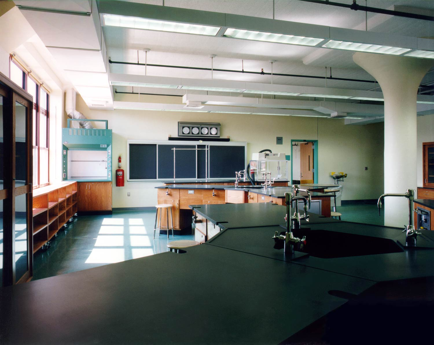 Science lab at ACORN Community High School, an OCV conversion of a factory into a high school.