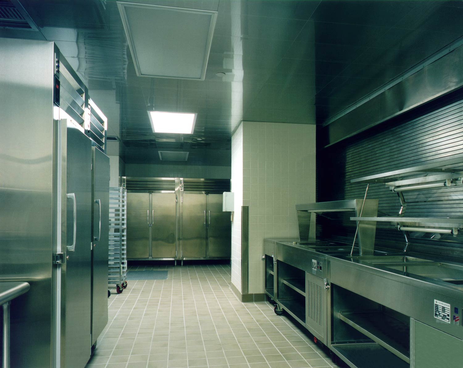 The kitchen at Acorn Community High School, an OCV conversion of a factory into a high school.