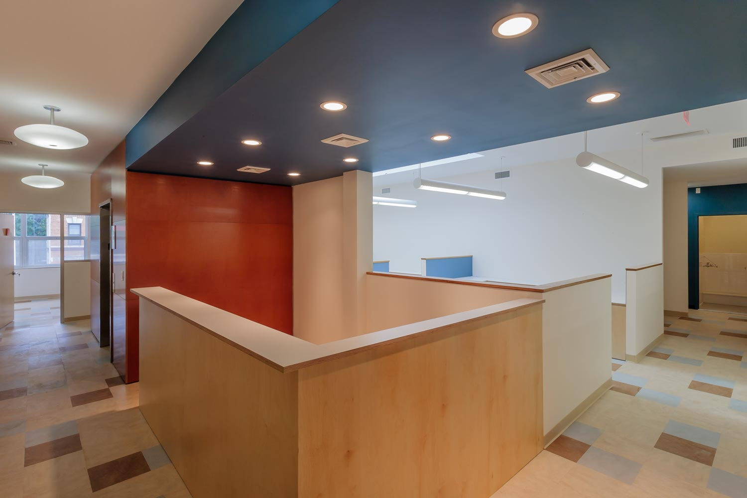 Second-floor reception at BronxWorks' administrative offices.