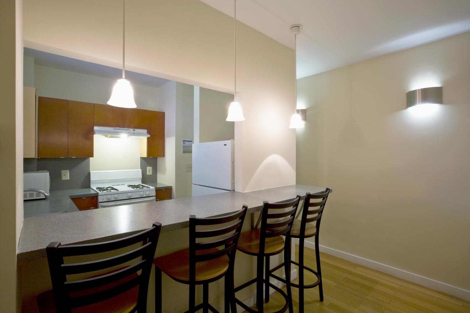 Private suites offer residents maximize use of the small spaces with innovative furniture design.