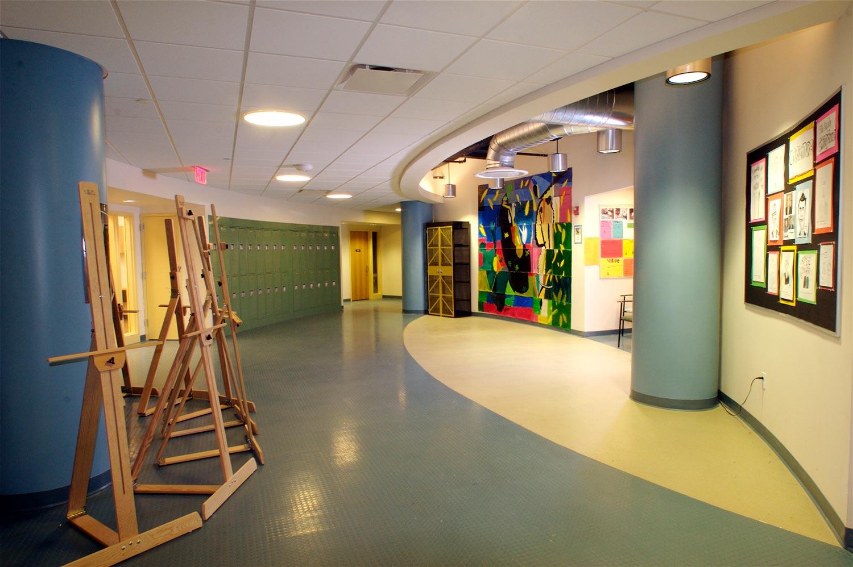 Interior corridor at the Claremont Prep School.