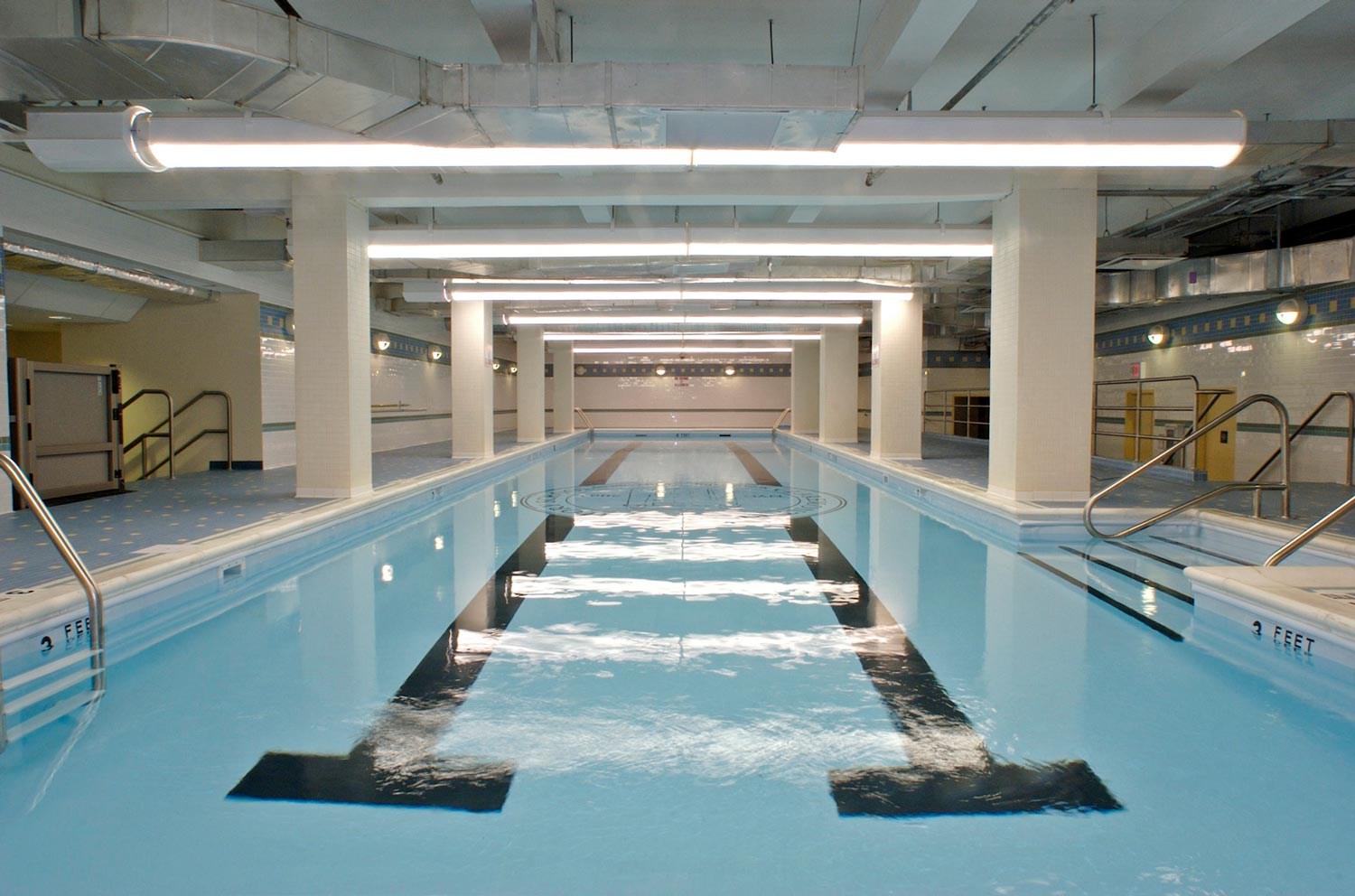The school features an olympic sized swimming pool which was added at the roof level.