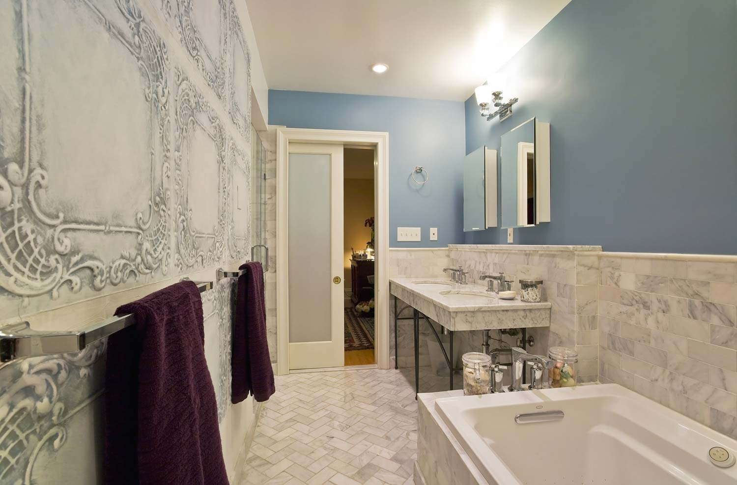 The new master bathroom at this residential project in Brooklyn by OCV Architects.