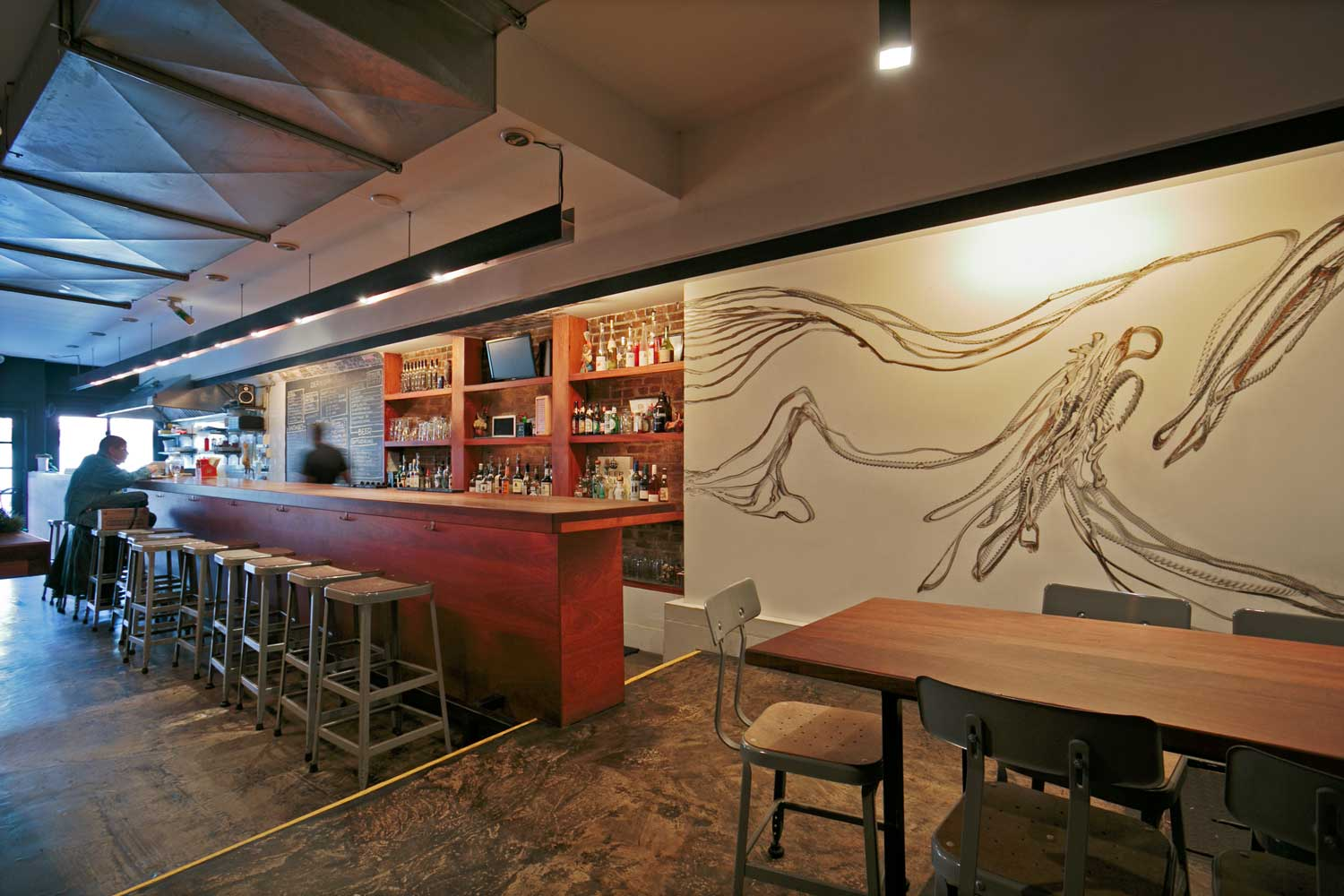 Der Kommissar bar renovation in Brooklyn designed by OCV Architects.
