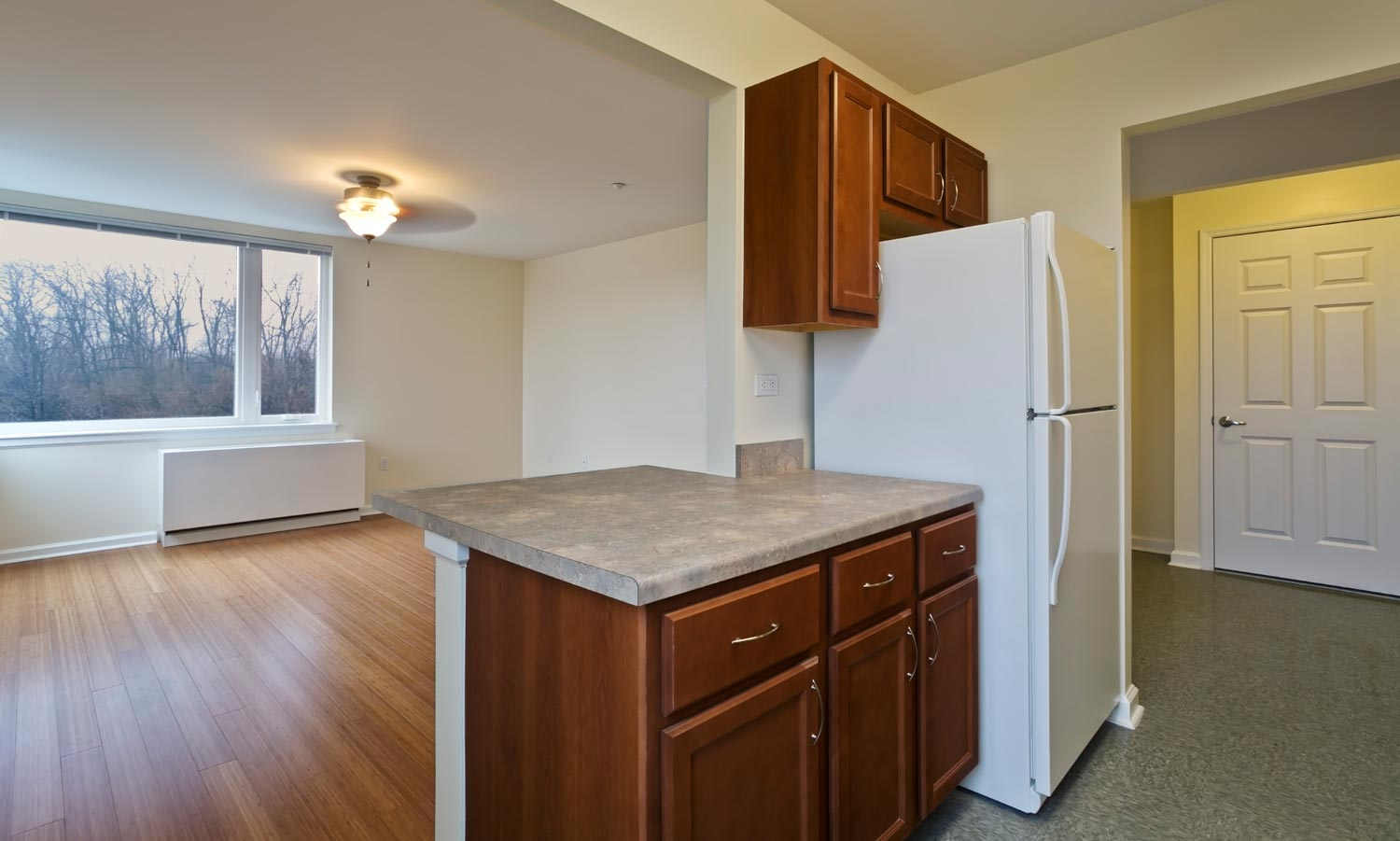 The studios and one-bedrooms at The Friedrichs were designed with open kitchens.