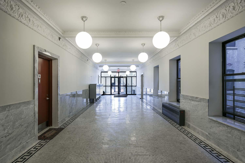 Lobby of this green, historic rehabilitation on St. Nicholas Avenue by OCV Architects.