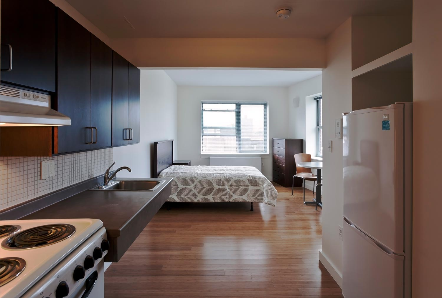 The green efficiency units at Kingsbridge Terrace each have a kitchenette and accessible bathroom.
