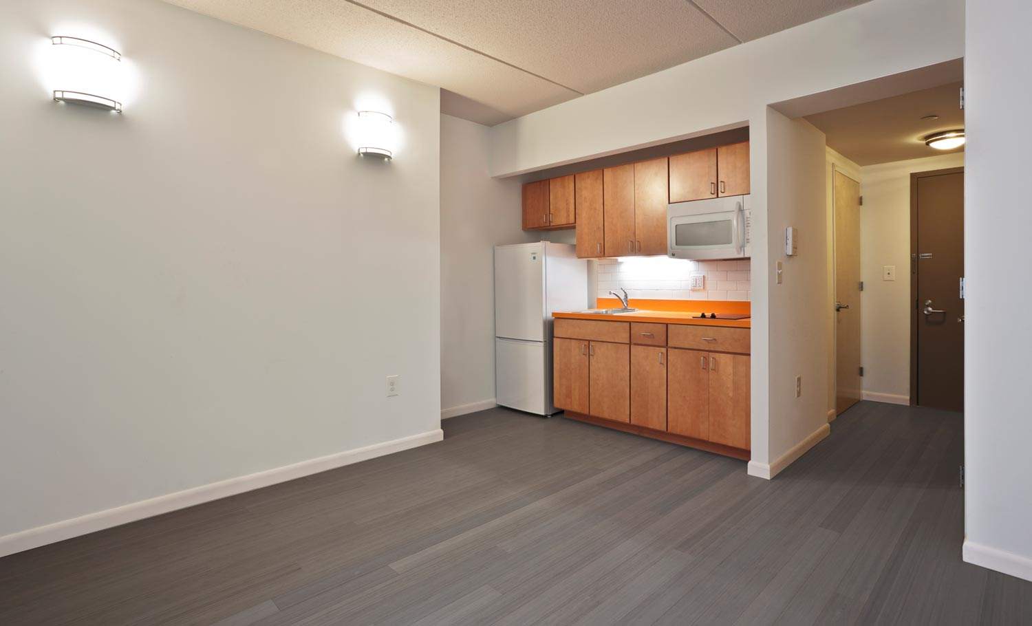 The residential efficiency units at Mosholu Gardens are equipped with private kitchens and baths.