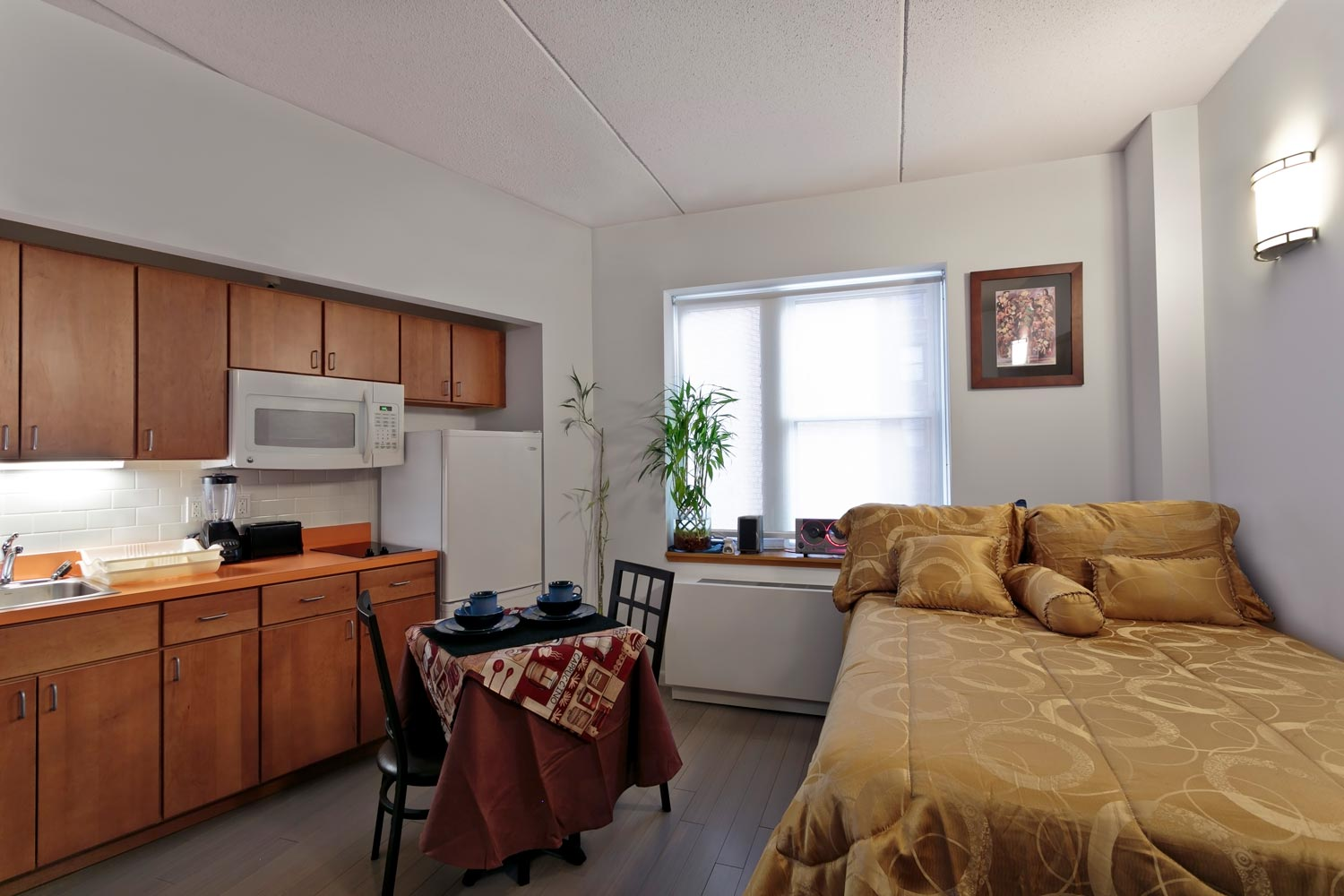 Mosholu Gardens features residential efficiency units with private kitchens and baths.