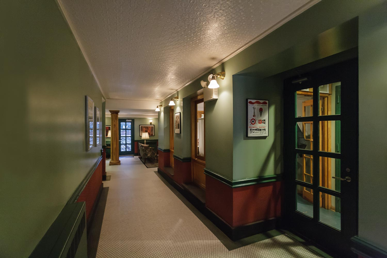 Entrance hall at Nero Wolfe supportive housing rehabilitation and expansion project by OCV Architects.