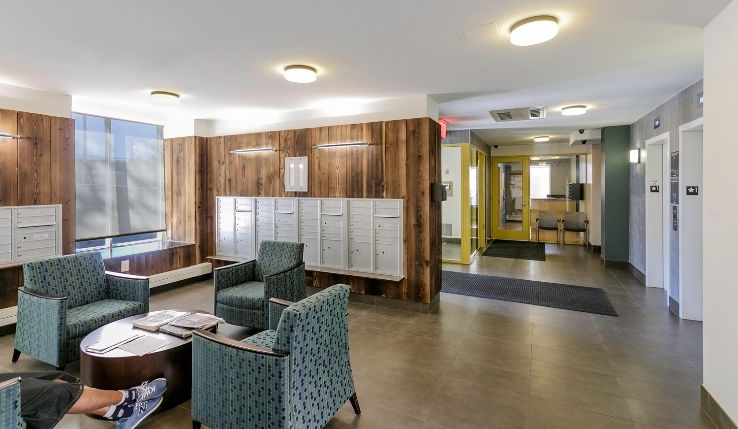 The lobby at The Villa also serves as a lounge for residents of this supportive housing project.