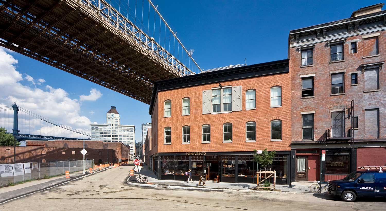 Historic rebuild by OCV sitting at the foot of the Brooklyn Bridge.