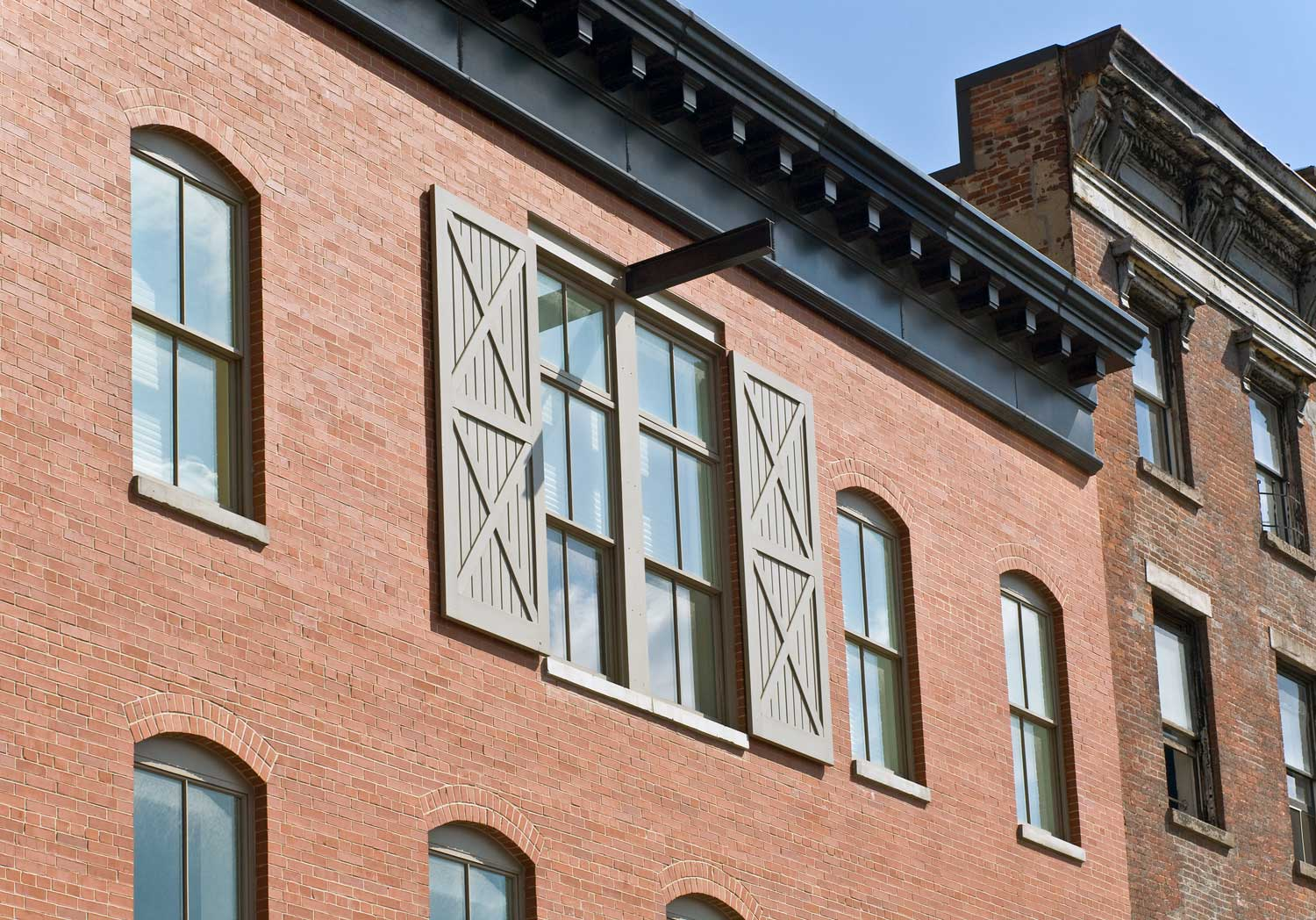 Facade detail of this historic rebuilt and expansion project by OCV.