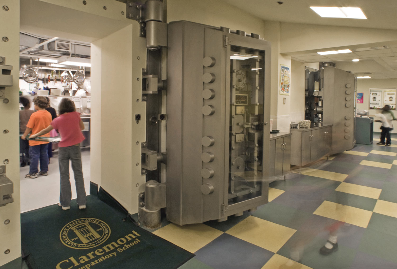 OCV transformed the bank vault to serve as the schools' cafeteria.
