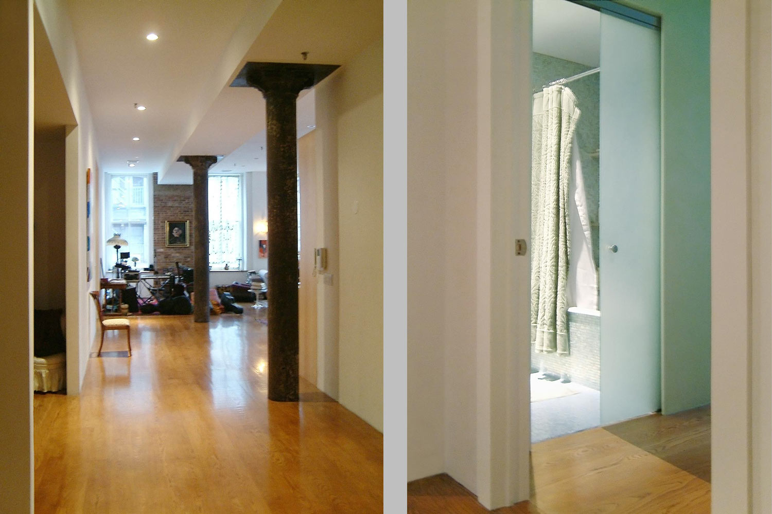 Tribeca loft by OCV featuring outsized living spaces, restored cast iron columns and refurbished timber beams.