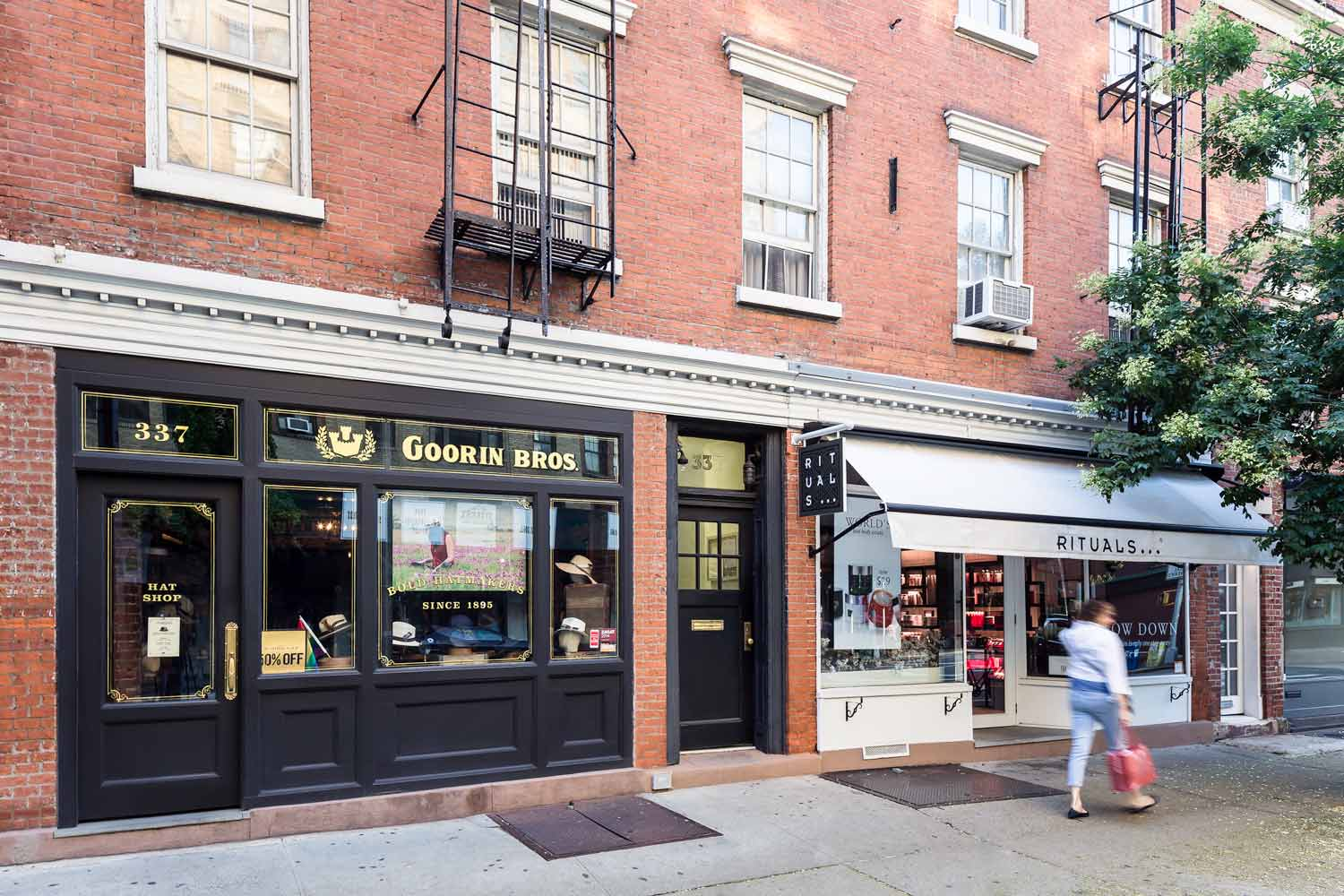 Reconfiguration and historic renovation of storefronts on Bleecker Street by OCV Architects.