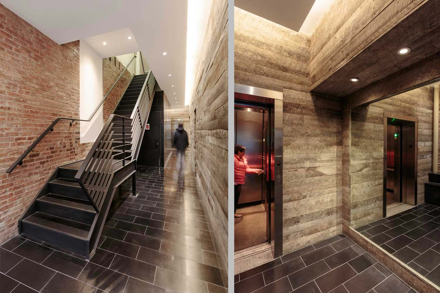 Lafayette Street lobby renovation includes a custom oiled steel stair and reclaimed wood wall panels.