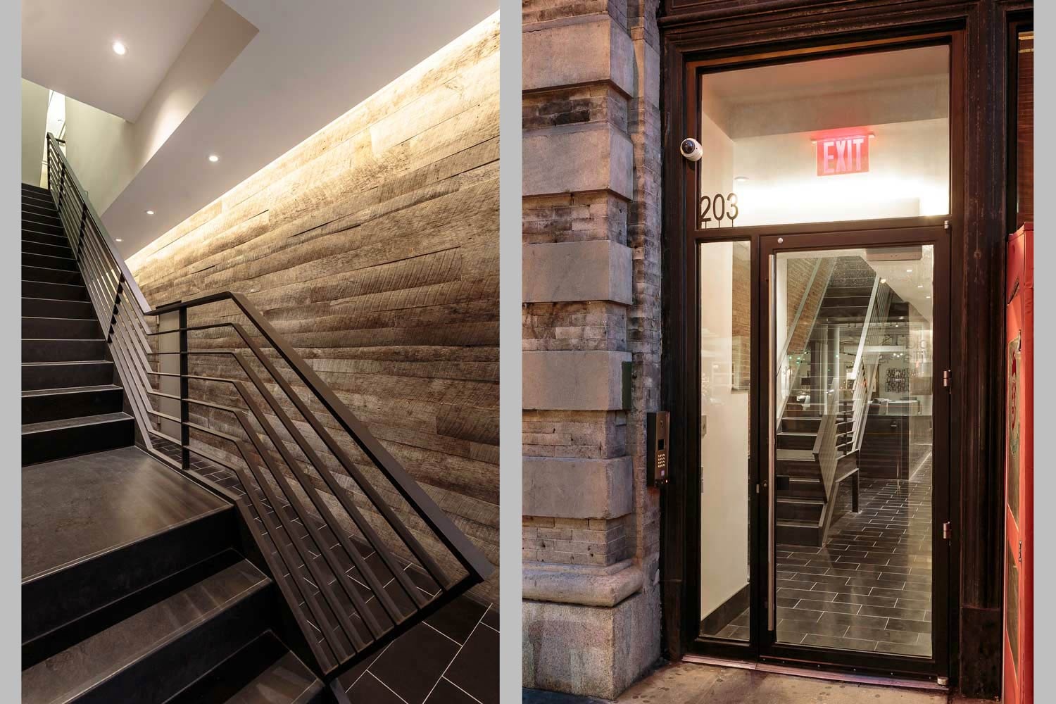This SoHo lobby renovation by OCV Architects features a custom oiled steel stair.
