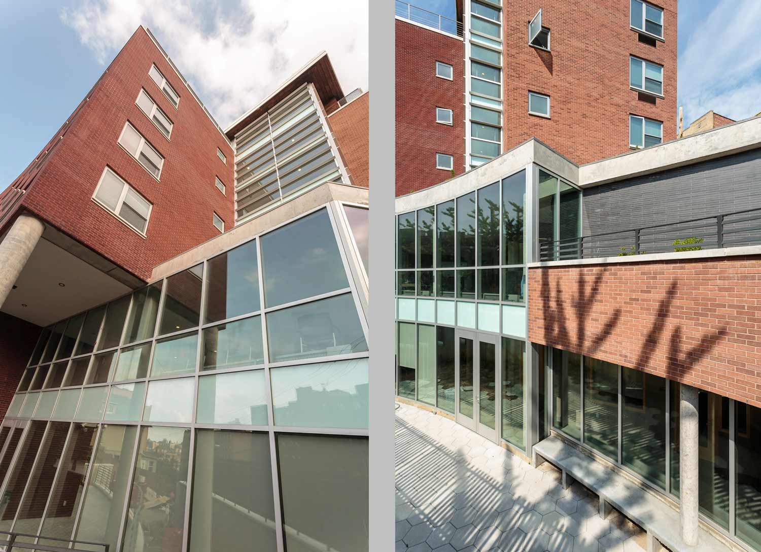 A glass curtain wall fronts the social service offices and lobby, both overlook an outdoor terrace.