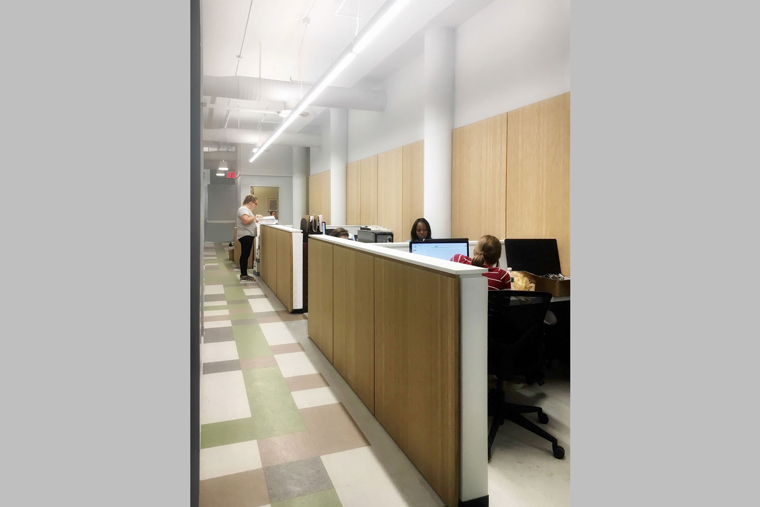 OCV used warm wood paneling to finish new partitions and walls for this CCM headquarters in Brooklyn.
