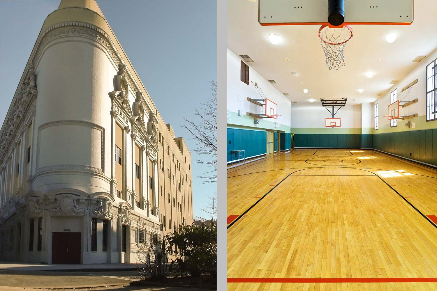 The Acorn High School for Social Justice was constructed inside the shell for a former vaudeville theater.