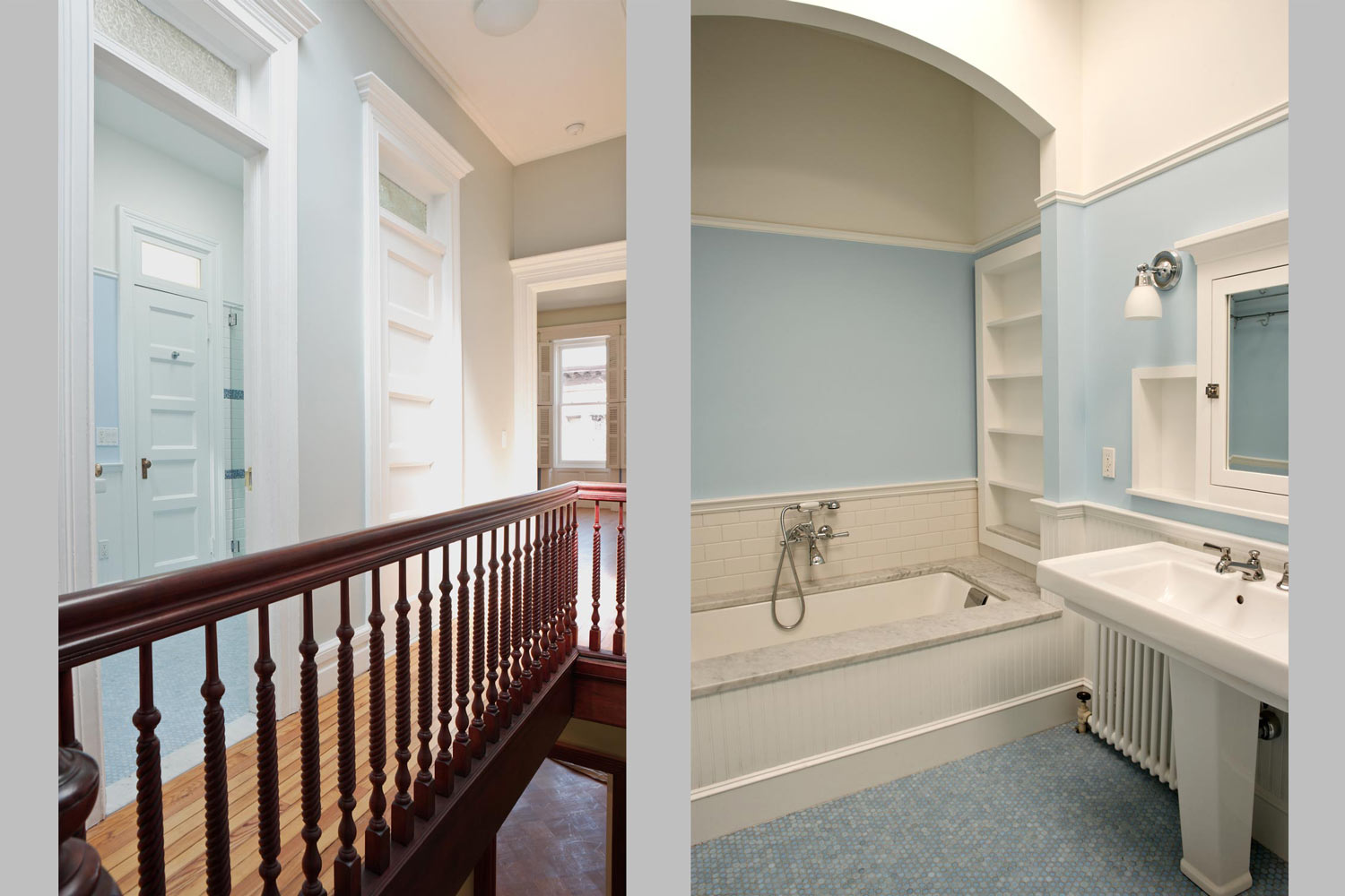Upstairs OCV transformed the service core into a large modern bathroom.