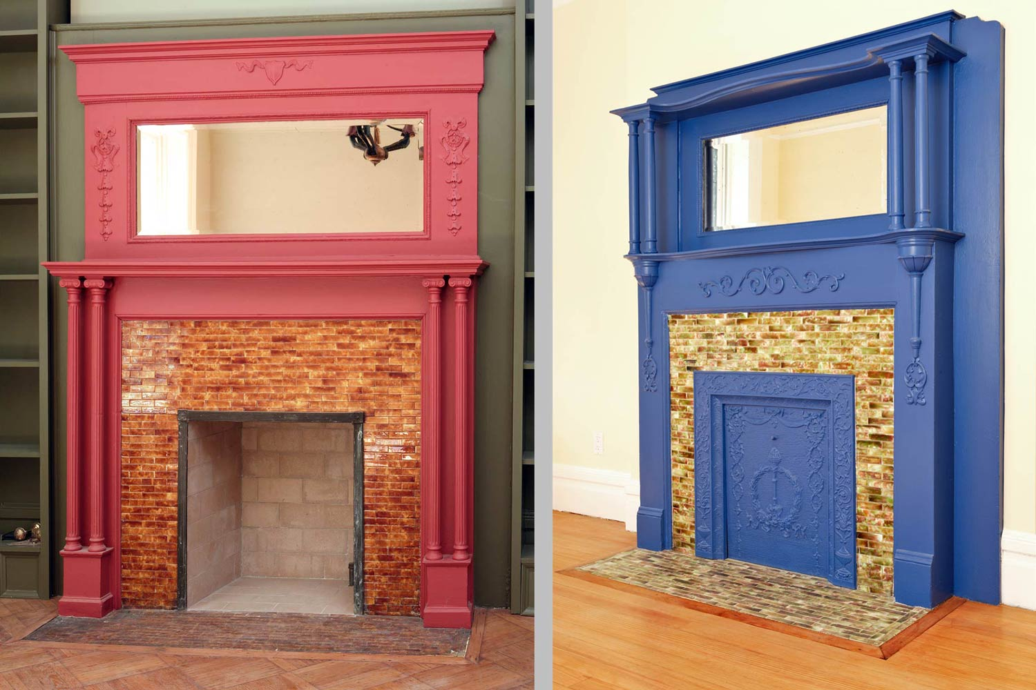 The multiple fireplaces at the Harlem Residence were restored and beautifully detailed.