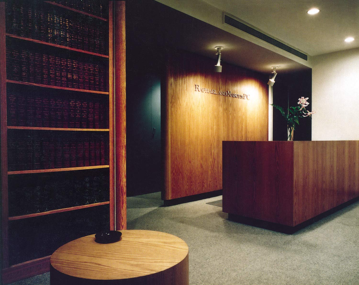 Raphael & Marcus law offices feature oak throughout and custom, built-in cabinets.
