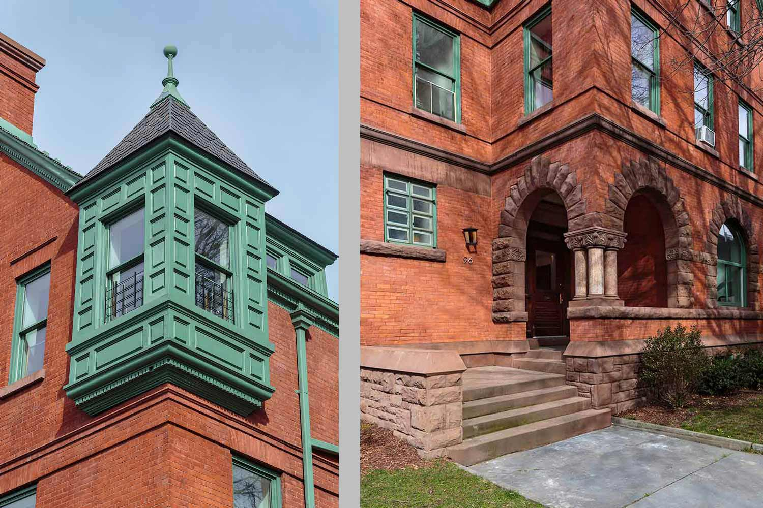 Historic details such as the corner tower and entrance loggia were restored to their original condition.